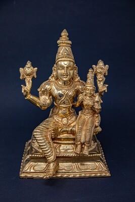 Sitting Lakshmi-Narayana murti - panchaloha