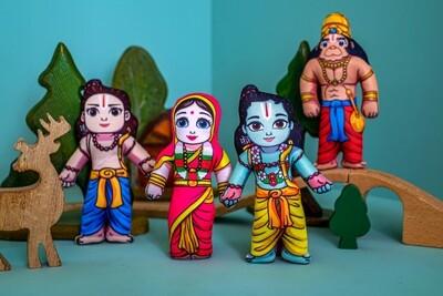 Lord Rama's Family (Sita, Rama, Lakshmana and Hanuman) - Children's Stuffed Toys