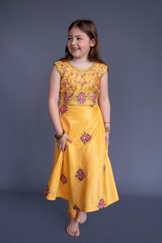 Yellow Churidar Set, 7-8 years