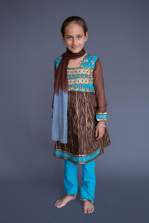 Turquoise & Brown Churidar Set, 6-7 years