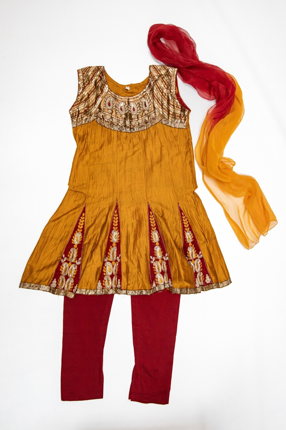 Old Gold & Red Churidar Set, 11-12 years