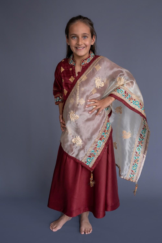 Dress Kurta and Shawl Set, 7-8 years