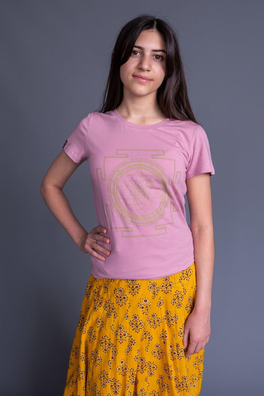 T-shirt 'Sri Yantra' - Baby Pink Rose