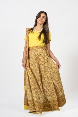 Gopi Dress: Wrap Skirt with Dupatta, yellow