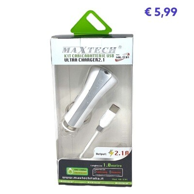 Kit Ricarica Per Smartphone Auto Type C,lightning,microusb