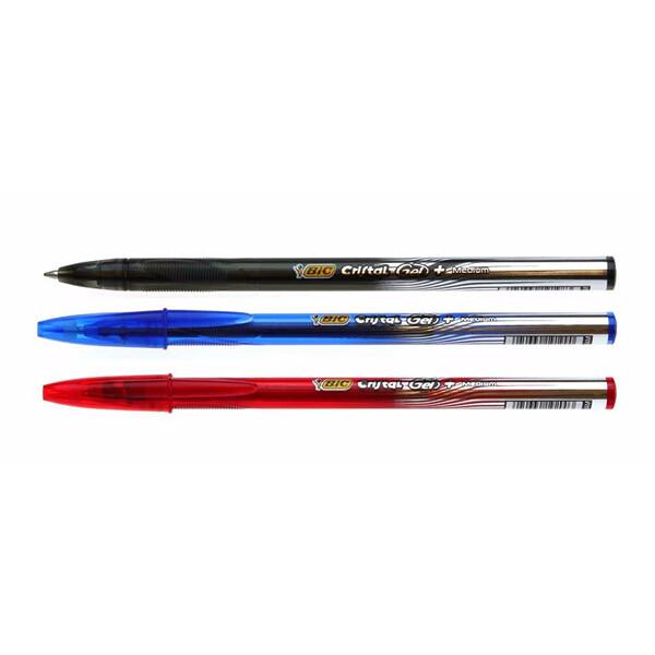 penna bic gel nera blu e rossa
