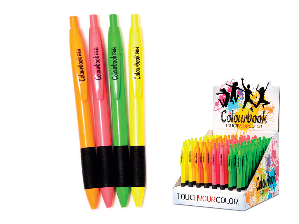 Colourbook Penna a scatto Fluo con grip - Nero