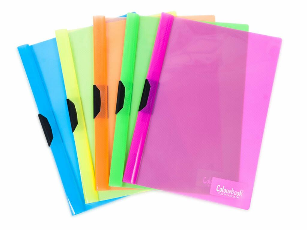Colourbook Cartellina con fermo laterale in PPL RIGATO