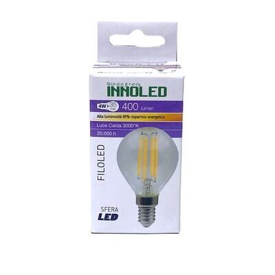 Lampadina Sfera Led Chiara G45 E14 4w Filamento Di Led