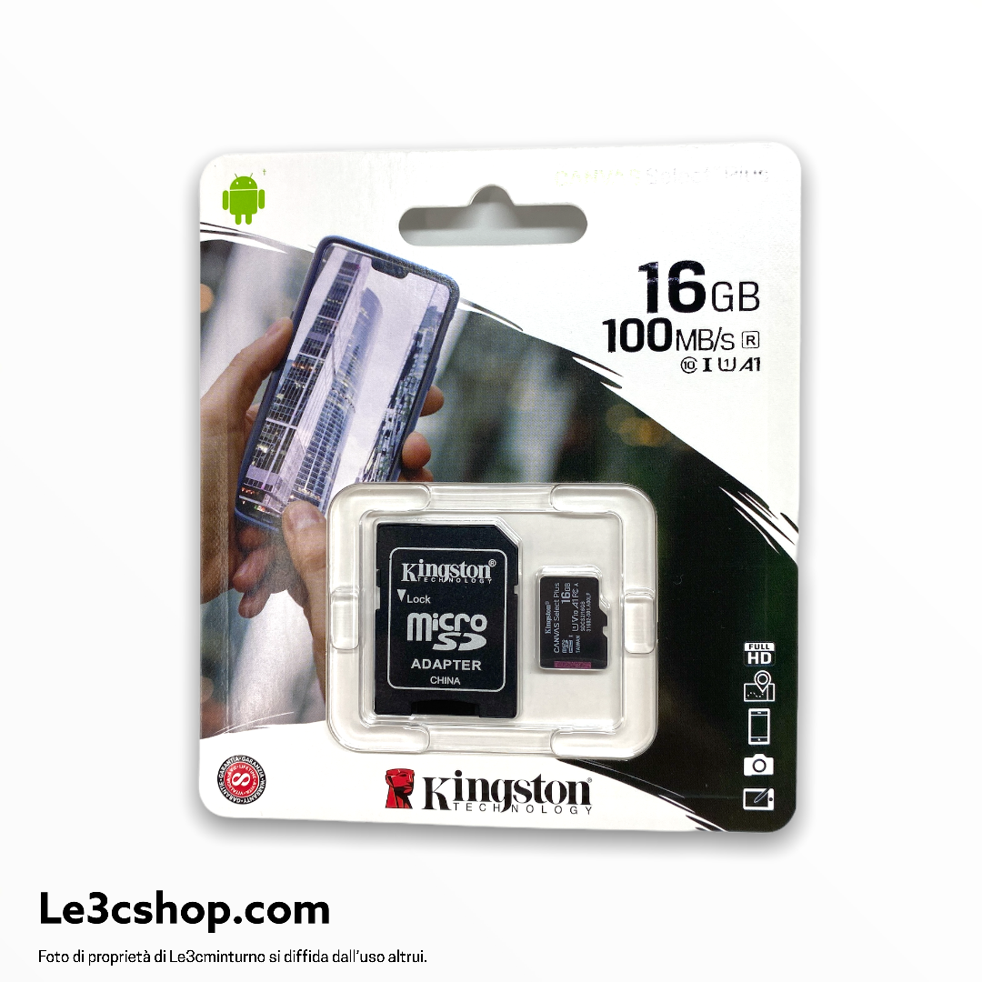 Micro sd kingstone 16 gb classe A1 100mbps