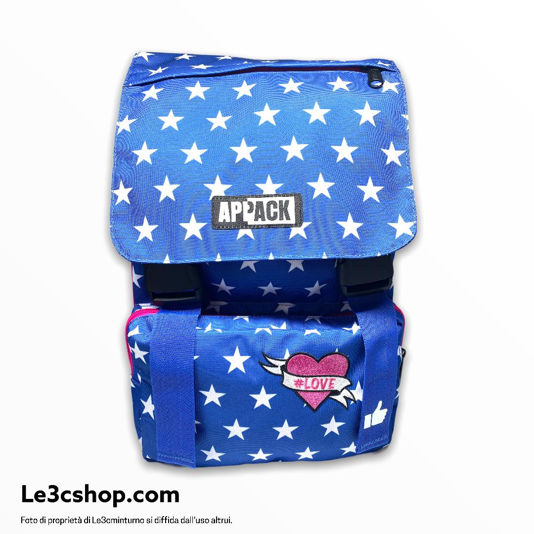 Zaino scuola Seven aPPAck azzurro e rosa con le stelle