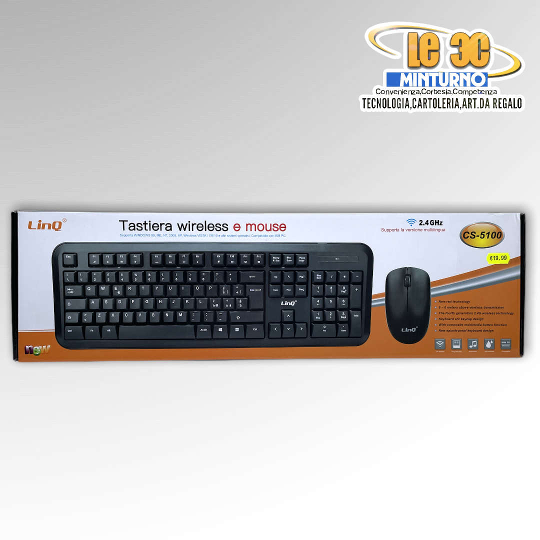 Tastiera wireless con mouse Linq