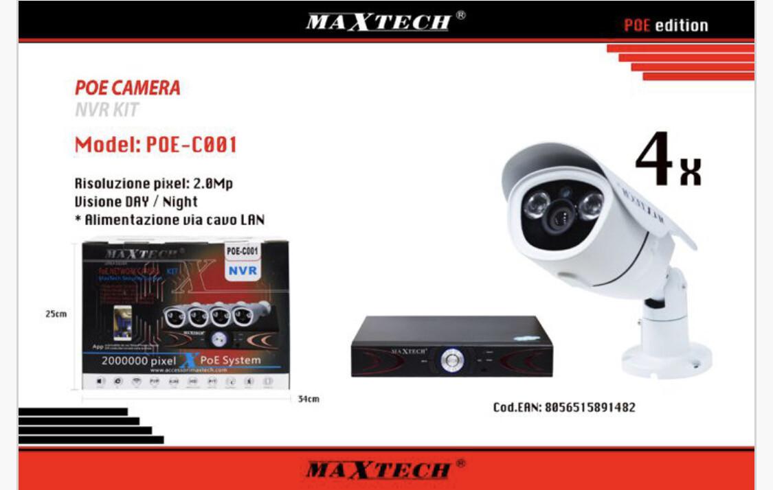 Kit Nvr Maxtech 4 ch sistema poe 2 mp