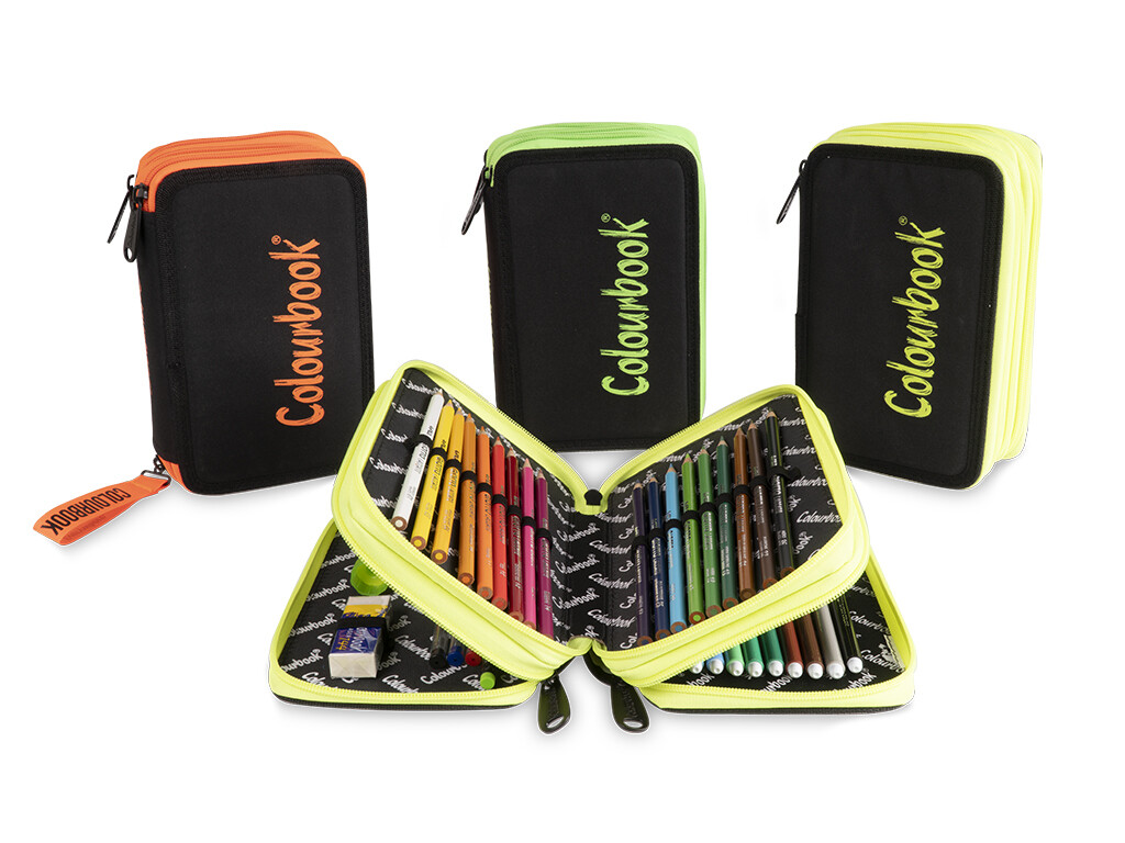 Astuccio 3 zip Colourbook Fluo