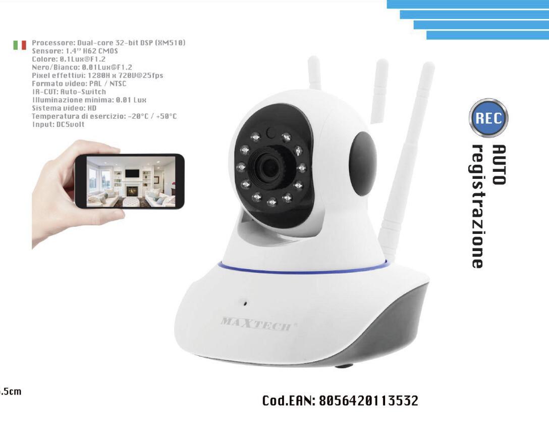 Ip Cam Maxtech Interno Tel-D007 lente 3.6 mm 1 mp 720p