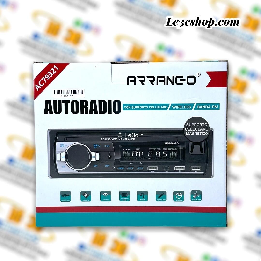 Autoradio Arrango mp3 con supporto magnetico cellulare