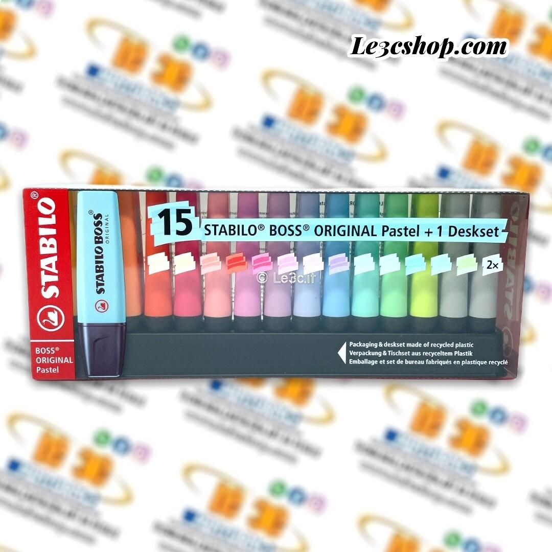 Evidenziatore STABILO BOSS ORIGINAL Pastel Desk-Set - 15 Evidenziatori Pastel