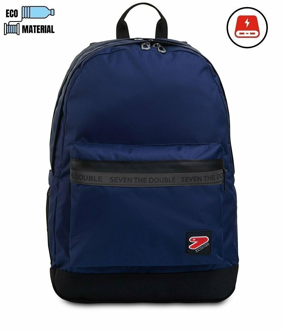 ZAINO Seven® THE DOUBLE PRO XXL blu e nero mono colore con powerbank