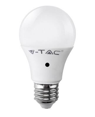 V-TAC Lampadina LED sensore crepuscolare 9W attacco E27 luce fredda 6500°k Sensor 200D