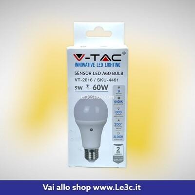 V-TAC VT-2016 Lampadina LED E27 9W A60 con Sensore Crepuscolare 6400K