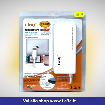 LINQ ALIMENTATORE 65W TYPE-C (CON USB 5V-2A) (TJ-281) for mac.