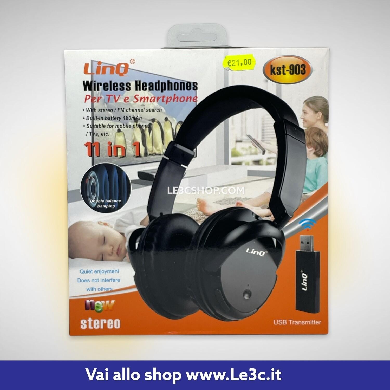 Cuffia linq per Tv e smartphone wireless 11 in 1 kst-903