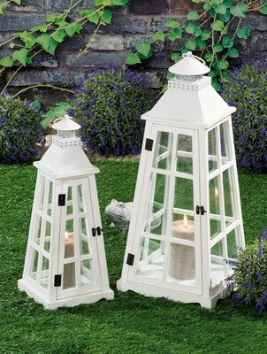 Set 2 lanterne portacandela in legno e ferro - bianche - cm. 21 x 21 x h. cm. 53 / cm. 30 x 30 x h. cm. 70