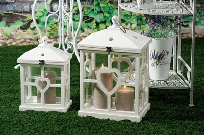 Set 2 lanterne portacandela in legno -  - cm. 25 x 16 x h. cm. 39 / cm. 33 x 24 x h. cm. 53