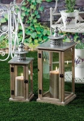Set 2 lanterne portacandela in legno e metallo -  - cm. 16 x 16 x h. cm. 44 / cm. 23 x 23 x h. cm. 57