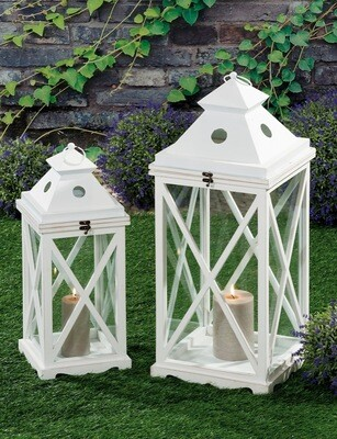 Set 2 lanterne portacandela in legno e ferro - bianche - cm. 22 x 22 x h. cm. 56 / cm. 30 x 30 x h. cm. 75