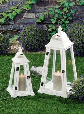 Set 2 lanterne portacandela in legno - bianche - cm. 21 x 21 x h. cm. 44 / cm. 30 x 30 x h. cm. 62