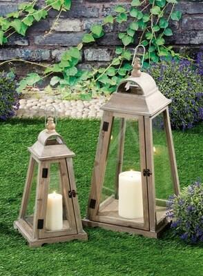 Set 2 lanterne portacandela in legno - naturali - cm. 21 x 21 x h. cm. 44 / cm. 30 x 30 x h. cm. 62