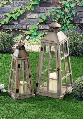 Set 2 lanterne portacandela in legno e ferro - naturali - cm. 21 x 21 x h. cm. 53 / cm. 30 x 30 x h. cm. 70