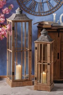 Set 2 lanterne portacandela in legno e ferro -  - cm. 24 x 24 x h. cm. 87 / cm. 32 x 32 x h. cm. 119