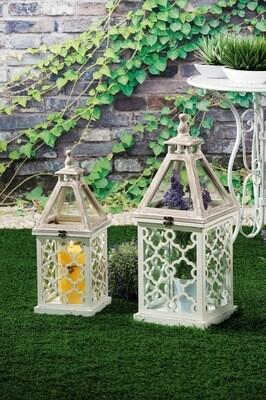 Set 2 lanterne portacandela in legno -  - cm. 23 x 23 x h. cm. 58 / cm. 30 x 30 x h. cm. 74