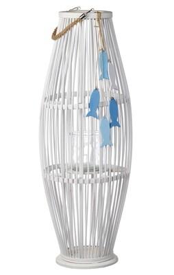 Lanterna portacandela in bamboo con contenitore in vetro -  - diam. cm. 31,5 x h. cm. 83