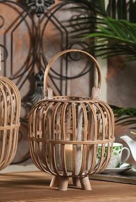 Lanterna portacandela in bamboo e vetro -  - diam. cm. 24 x h. cm. 38