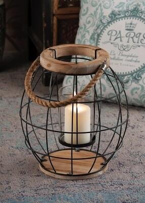 Lanterna portacandela in ferro e vetro -  - diam. cm. 32 x h. cm. 34