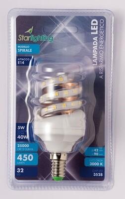 Lampada LED 3528 spirale - attacco E14 -  - 5 W - mm. 49 x 105 - 408 lumen