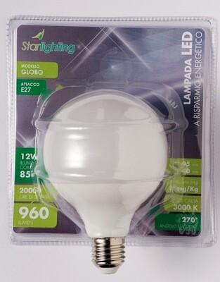 Lampada LED globo luce calda - attacco E27 -  - 12 W - mm. 95 x 140 - 960 lumen