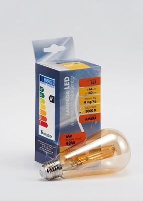 Lampada a filamenti LED luce calda - attacco E27 - ambra - 6W - mm. 64 x 140 - 600 lumen