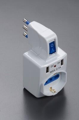Adattatore multiplo con spina 16A 2P+T, 1 presa 10-16A bipasso, 1 presa 10-16A bipasso Schuko e 2 porte USB con interruttore -  -