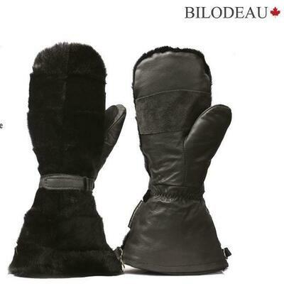 BILODEAU MITAINES LONGUE EN LOUP MARIN NOIR PATCHWORK (XL)