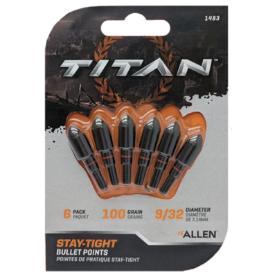 """STAY-TIGHT BULLET POINTS 11/32"""", 6 PER PACK - BLACK"""