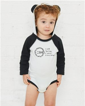 Child Onesie with Ears - Black and White