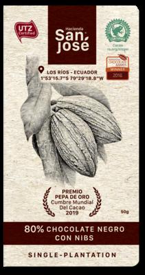 Barra Chocolate Hacienda San Jose 80% Dark + Nibs