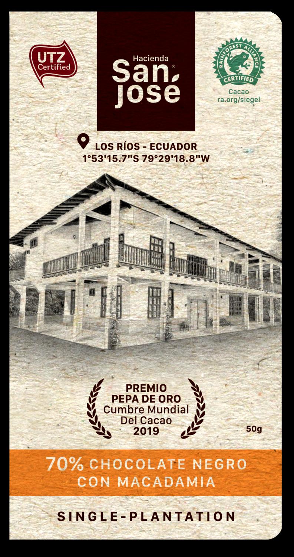 Barra Chocolate Hacienda San Jose 70% Dark + Macadamia