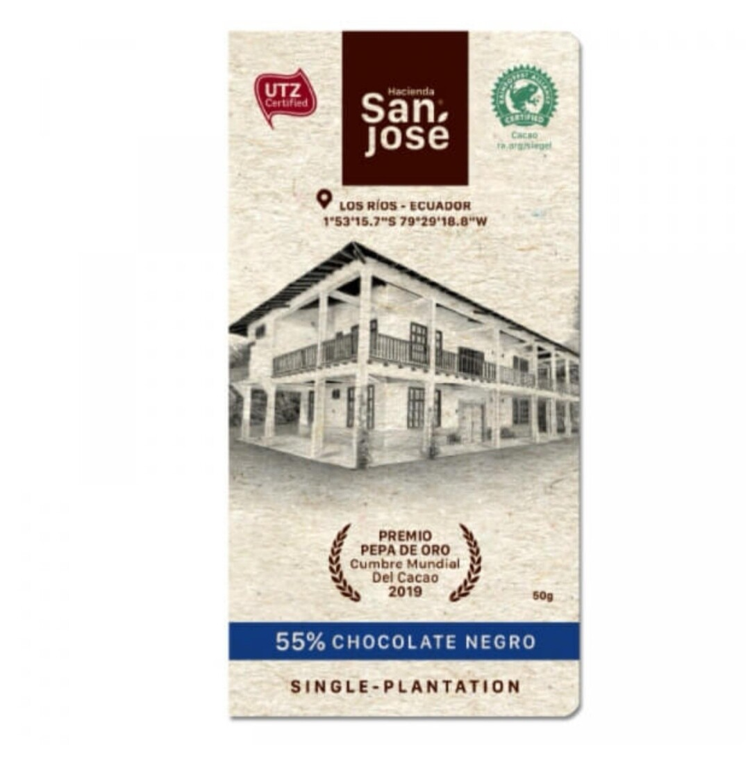 Barra Chocolate Hacienda San Jose Negro 55%