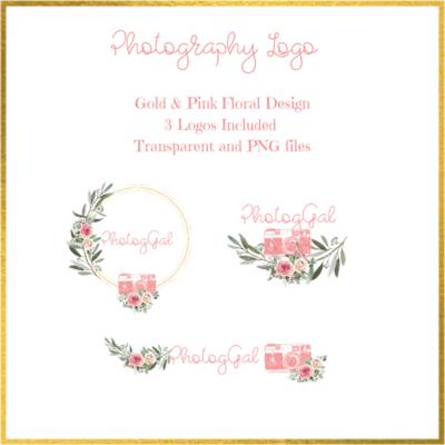 Photography Logo Pink/ Gold/ Floral Design