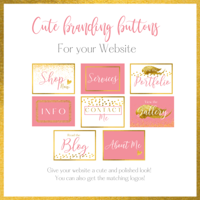 Cute Branding Buttons Pink & Gold